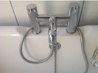 Solid brass chrome plated modern style bath mixer tap - brand new and unused.