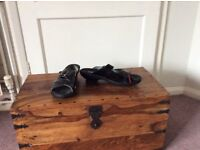 Wolky black patent sandals size 8