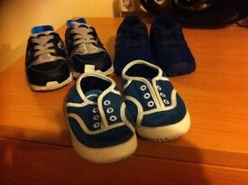 3 PAIRS OF KIDS TRAINERS 5 POUND EACH ! NIKE HUARCHE LACOSTE ADDIDAS FLUX !