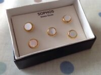Sophos Dress Shirt Studs. Mother of pearl with gold edging