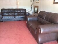 Leather sofas/settees brown 3 seater and 2 seater rarely used