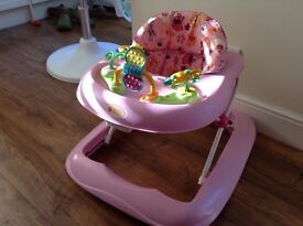 Girls Pink Baby walker with adjustable height from Kiddicare - Cost £40
