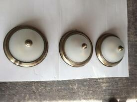 Three antique brass / glass ceiling lights