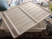 2 X IKEA Dilling Under Bed Storage Trays With Lids In White