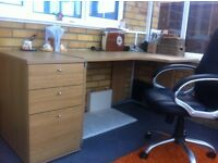 Desk with draws and office chair