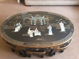 Mother of pearl table with 6 stools Excellent condition