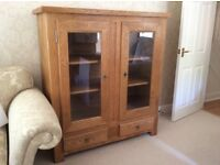 Furniture Village Mystic Solid Oak Gl Fronted Bookcase Display Cabinet With 2 Drawers Beneath