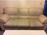 Cream Coloured 3 Seater Leather Sofa and Armchair