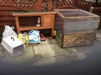 Two tier rabbit hutch and accessories