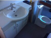 1000 cm wide large sink with cupboard and 3 drawers, shiny white finish. Very good condition £100