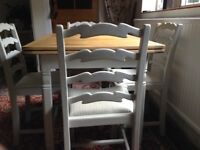 VGC Oak Up Cycled Breakfast Table & 4 Chairs
