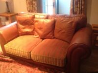 Quality 2 seater brown leather sofa