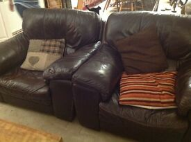 Furniture Village 2 leather armchairs and 3 seater sofa