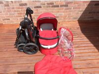 Mothercare Orb pram/pushchair, Berry in colour