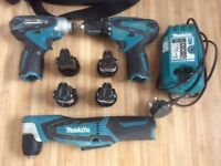 Makita 10.8v drill / impactor / angle drill / 4 batterys / charger / carry bag