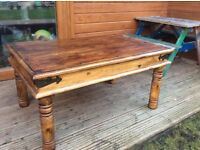 Solid oak rustic coffee table bees wax free delivery
