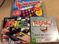 Children's Board Games, 4 in a row, Rubio Race and Pictureka.