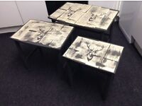 Quirky unique vintage grey nest of tables with shabby chic stag detail