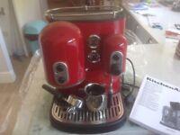 Red kitchen aid coffee machine