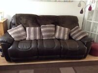 settee brown leather 3 seater electric recliner