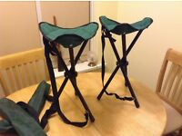 2 x Folding Tripod Stools complete with nylon carry bags.
