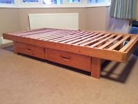Single bed pine frame with drawers