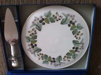 "Royal Worcester ""Lavinia"" cake plate and knife"
