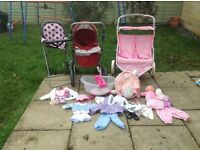 Doll and baby bundle including silver cross pram and double buggy