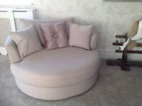 Two beautiful lilac/grey sofas or love chairs. Immaculate and hardly used.