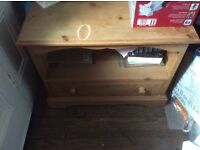 Pine solid with one draw ideal for hallway or TV stand