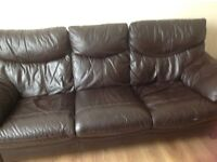 Three seater and two seater chocolate brown leather second hand sofa