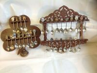 Decorative spoon collection and racks - silver plated