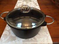Large Casserole/Dutch oven/Dish. Black & Chrome