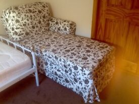Lovely chaise in modern floral fabric, 100 % cotton removable cover in perfect condition. REDUCED