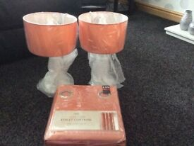 2 X beside lamps and matching curtains brand new from next
