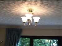 Beautiful Gold Effect Pendant Ceiling Lights - Triple Lamp - Excellent Condition -