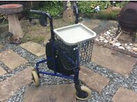 ROLLATOR in excellent condition with shopping bag, cage and tray