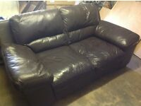 Gorgeous Brown 3 Seater Leather Sofas (x 2)