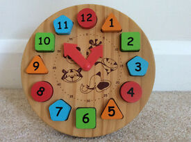 Childrens Wooden Round Clock with Magnetic Numbers