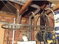 Hanging wrought iron kitchen pan hanger