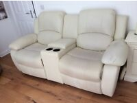 2 seater leather recliner sofa with storage and drinks holders