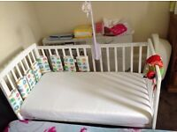 Kindervalley Cot Bed with Mattress,Blanket,Pillow,Cover( Full Set -New Born to 3 years)