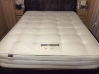 King Size Silentnight Mirapocket mattress with wooden bed frame
