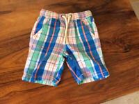 Next boys check shorts age 2-3 years