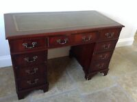 Reproduction Mahogany Kneehole Desk with Green Leather Top