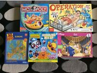 Monopoly Junior, Operation, Moshling Mix Up and 2 jigsaws