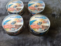 Philips DVD + R 4.7gb 120minute 25 Disc Packs x 4. Brand New Sealed only £10 for all.