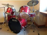 Full size drum set. Pacific by Drum Workshop 5 piece set with 3 cymbals and stool