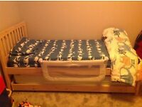 Children's single wooden bed with under guest bed