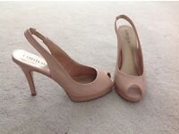 Size 6 nude patent M & S sling back heels with matching clutch bag